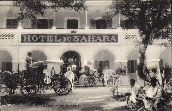 Postcard Biskra Algerien Hotel Du Sahara Pferdekutschen