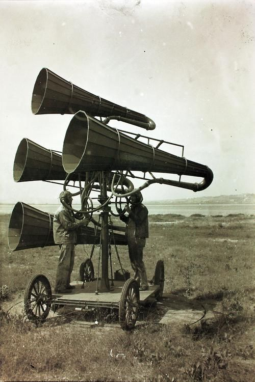 ear trumpet used during WW1 to detect the sound of incoming air-planes