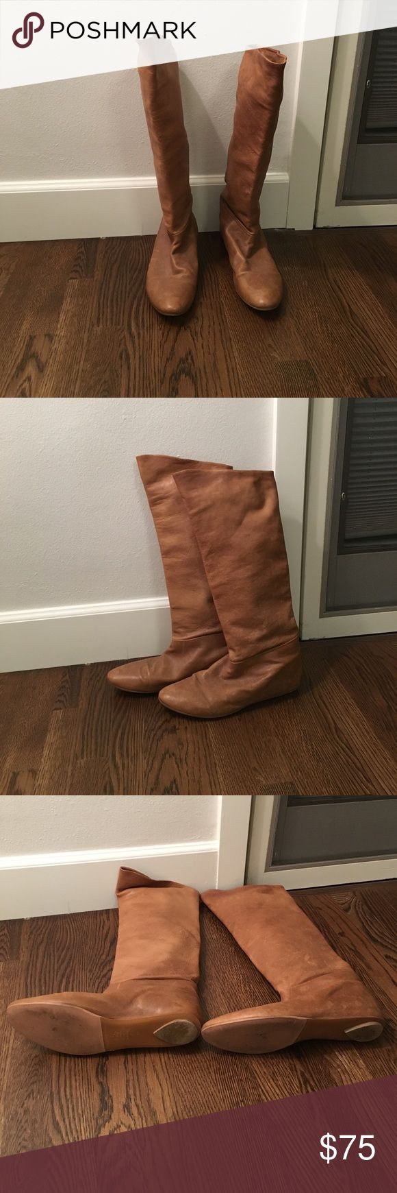 Sigerson Morrison Tall Boots Flat light brown boots. Size 11. Lightly used. Authentic Sigerson Morrison! CHEAPER ON MERCARI Sigerson Morrison Shoes