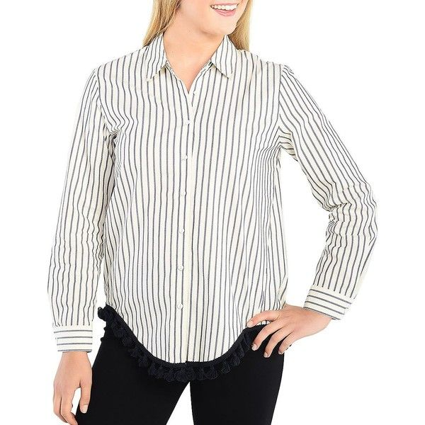 Kensie Women's Oxford Stripe Casual Button-Down Cotton Shirt ($79) ❤ liked on Polyvore featuring tops, white cream, white shirt, striped shirt, white oxford shirt, stripe shirt and oxford button down shirt