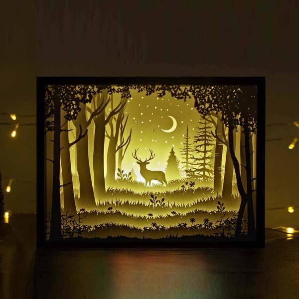 Papercut Light Boxes The Deer In The Deep Forest At Night Light Box Diy Shadow Box Art Shadow Light Box