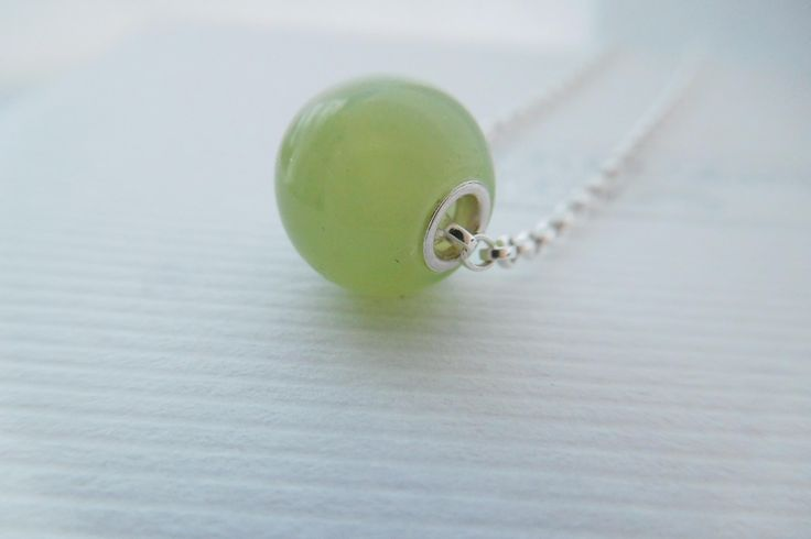 Pistachio Green Necklace, New Jade and Silver Necklace, Serpentine Beaded Necklace, Pale Green Pendant, Floating Pistachio Green Pendant by JacquelineGrantUK on Etsy