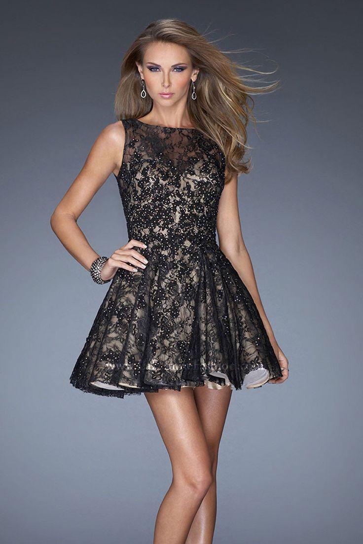 Short black lace evening dress
