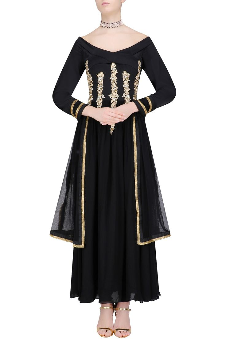 Black embroidered off shoulder anarkali set with embellished choker available only at Pernia's Pop Up Shop.