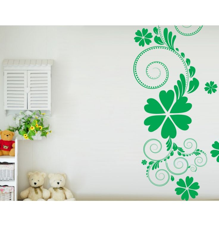 Decor Kafe Green Flower Floral Wall Decal (Sizes Available)