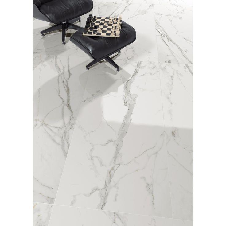 Carrelage imitation marbre blanc 80x80 Bernina Naturel Rectifié, collection Transalp Monocibec
