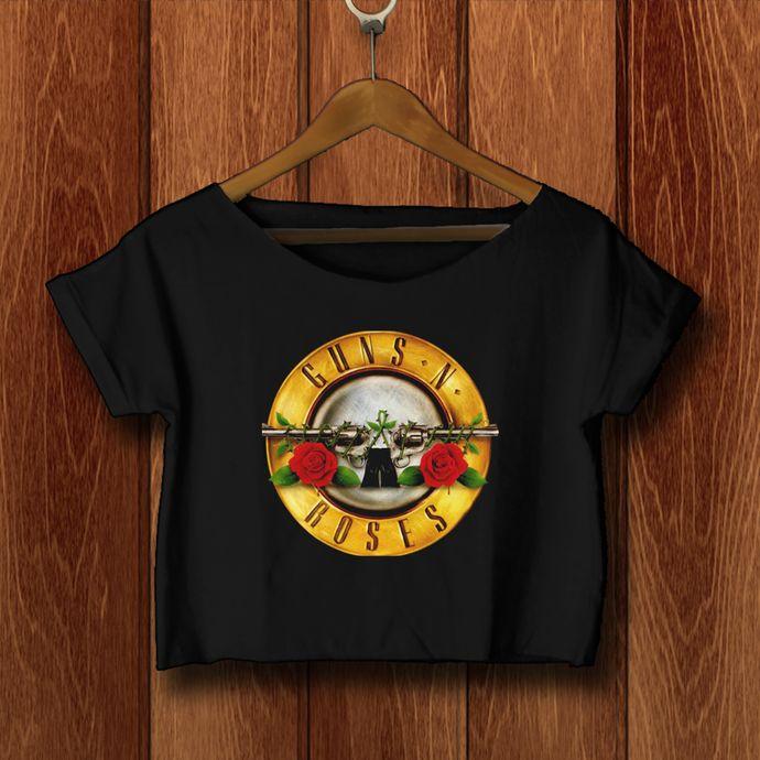 Guns N' Roses crop top shirt Guns N' Roses  crop tee tshirt GR-02-B by SATURNUS, $16.75 USD