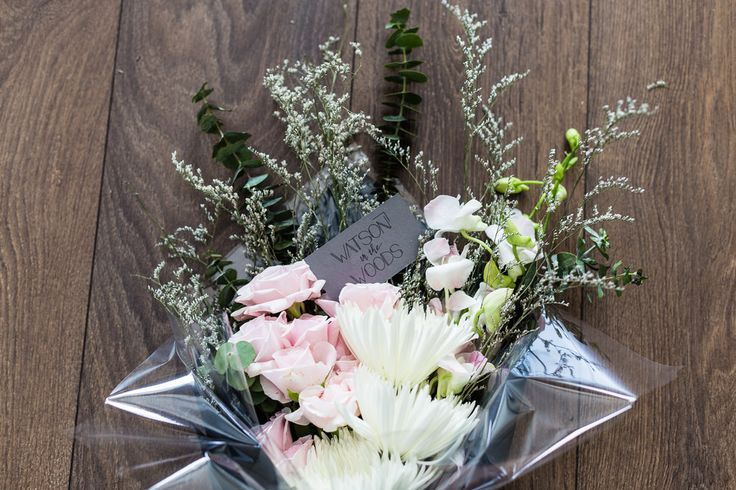 Watson in the Woods, Large Posy, Hand Tied Bouquet, Light pink flowers including roses, anastasia, Limonium misty white, spiral baby eucalyptus.