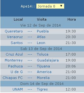 Calendario Jornada 8 futbol mexicano