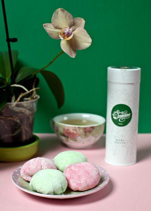 Milky Oolong ice cream Daifuku Mochi Recipe. Recette de Mochis glacés au Milky Oolong des Jardins d'Osmane.