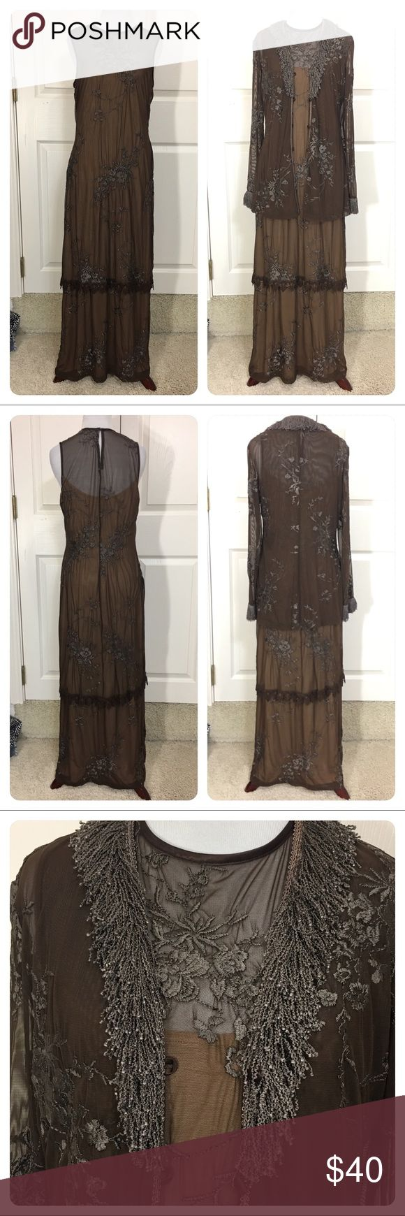 Sue Wong dress and jacket - boho chic This is so cool. Elegant yet boho chic!  Brown maxi dress with sheer embroidered overly. Matching jacket with unbelievable fun fringe. Jacket has pretty front loop buttons. Unique set!  Great as separates or together. No flaws noted. Sue Wong Dresses