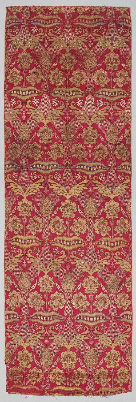 Silk Loom Width with Floral and Tiger-stripe Design. Fragment, Turkey, Bursa, 16th c.