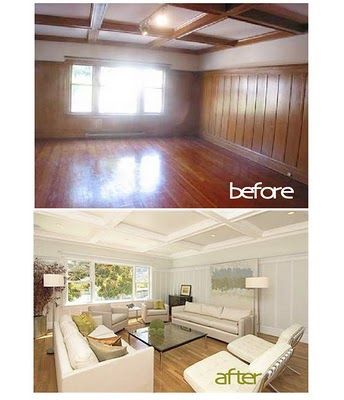 WHY YOU SHOULD ALWAYS PAINT 1970s paneling white or cream!! Dont remove it!! adds architectural interest! Pinner said-This makes me feel so much more comfortable about buying old homes with wood paneling.
