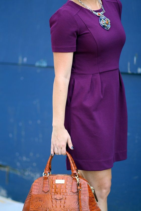 Pretty in plum! Love this cute little dress paired with a great leather handbag! #FallFashion