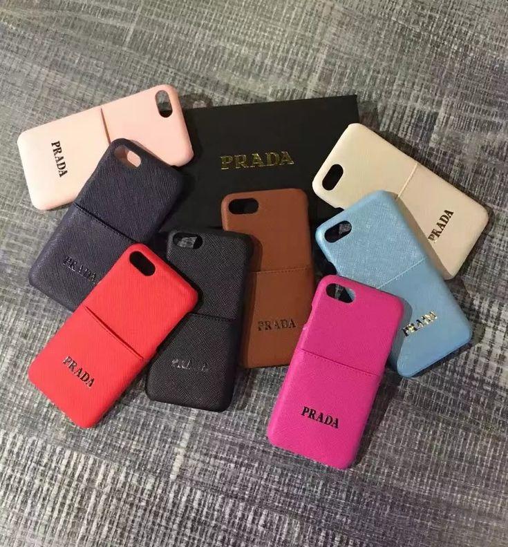 Prada プラダ iPhone7/7plusケース ポケット付き ICカード収納 ゴージャスブランド 無地iPhone6/6S/6plus/6Splus ジャケット 男女兼用