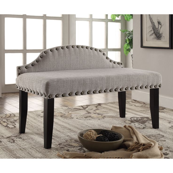 Furniture Of America Emira 42 Inch Flax Upholstered Accent