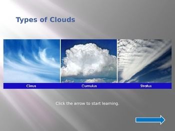 This is a non-linear power point about clouds.  There is a brief review of cumulus, stratus, and cirrus clouds following a self-correcting quiz.  Enjoy!