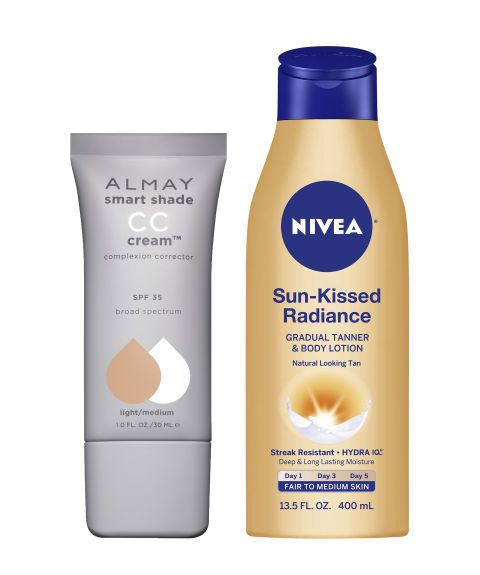 "Her glowy-skin recipe: ""This CC cream makes skin luminous but not sparkly. The self-tanner is great and doesn't smell weird."" Almay Smart Shade CC Cream Complexion Corrector, $9.99. Nivea Sun-Kissed Radiance, $8."