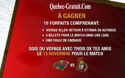 Concours gagnez un Forfait pour assister à un match de hockey à Ottawa | Québec Gratuit