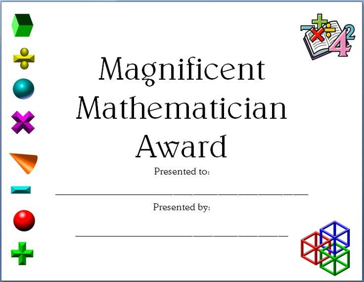 printable math certificate - Militarybralicious - printable math awards