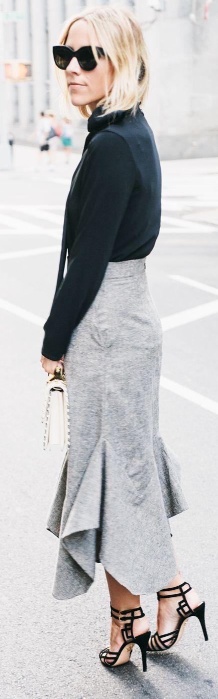 Grey Thrill Maxi Skirt Fall Inspo by Damsel In Dior