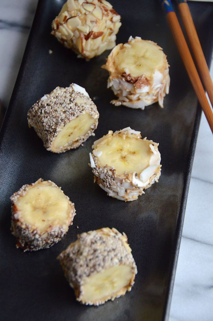 Get the recipe for this easy and healthy banana dessert sushi from The Dr. Oz Show 28 Day Shrink challenge. Made with your favorite nut butter and nuts and seeds, it's high in MUFAs and can be enjoyed as a healthy dessert or snack.