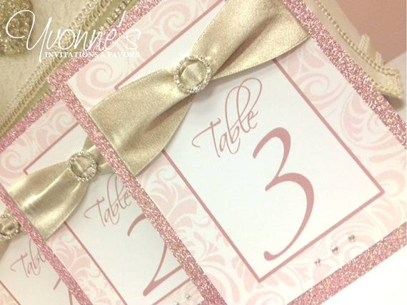 Rhinestone Table Numbers with Glitter Ribbon by CandyBarBoutique