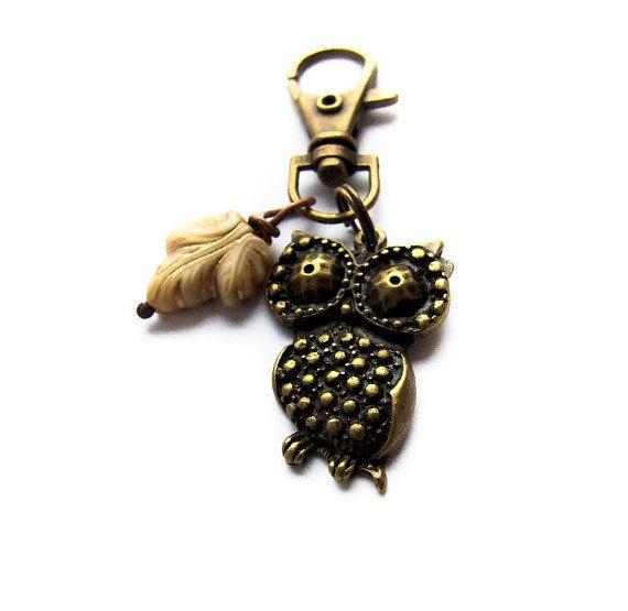 Owl Keychain Retro Unisex Forest Keychain Rustic by KicaBijoux