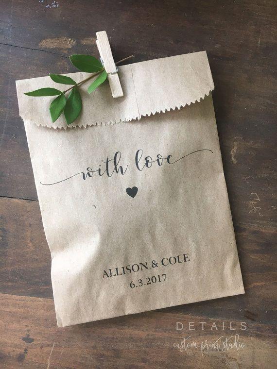 Wedding Favors – Custom Printed Favor Bags – Recycled Wedding – Treat bag Goodie Bag – Bridal Shower Favors- 25 pack