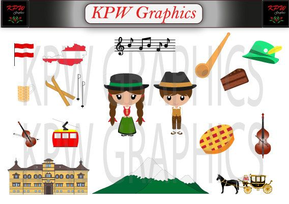 Austria Dolls of the World Clipart Set in a PNG by KPWgraphics