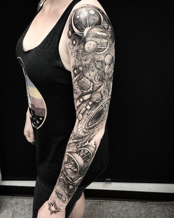 Galaxy Tattoo Sleeve On Woman Wearing Black Top And Pants Black And White Tattoo Of Milky Way Planets Stars In 2020 Galaxy Tattoo Sleeve Galaxy Tattoo Sleeve Tattoos