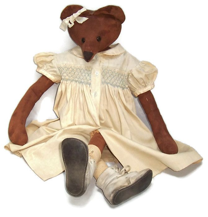Girl Brown Rat Doll Hand Made Painted Muslin, Dressed and Demure