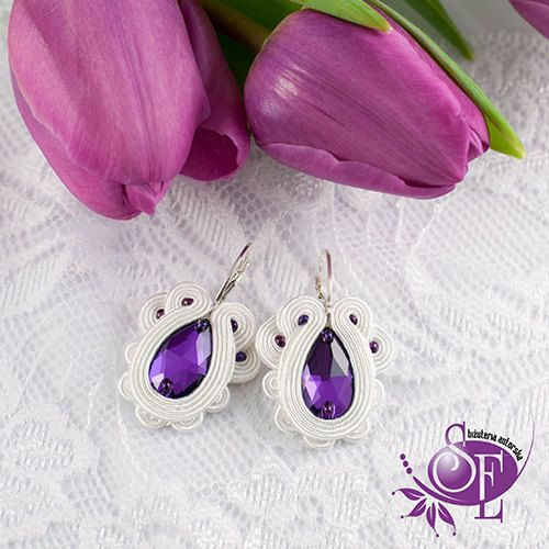 Wedding earrings - Purple - Violet - White by SzkatulkaEmi on Etsy