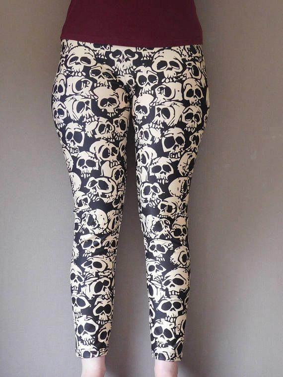 Skulls Skulls leggings Skullbones pattern goth pattern