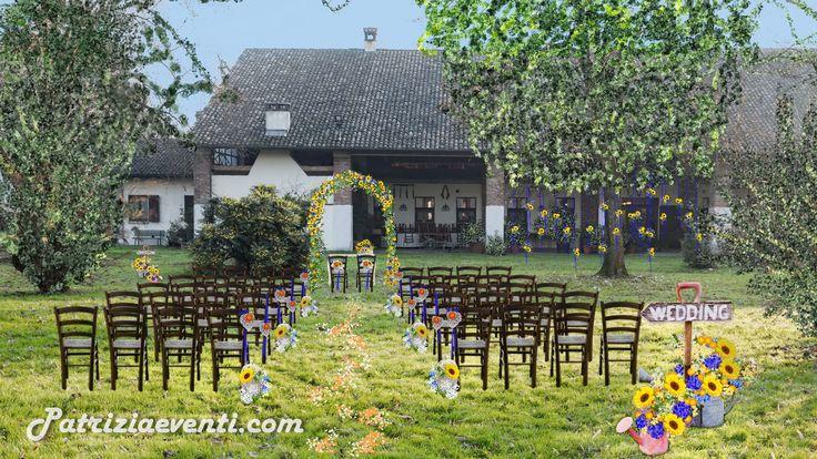 Progetto allestimento Matrimonio Rito civile in esterno con arco floreale