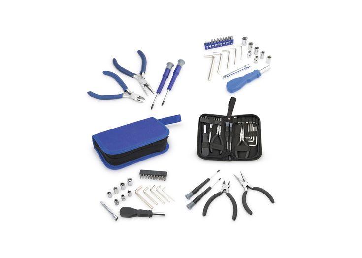 HE0086 Herramientero Pocket. Kit de herramientas que incluye: 1 pinza con cortafrío, 1 cortafrío, 2 destornilladores de precisión, 1 copa de 1/4 x 3 con soporte magnético, 7 copas de 1/4, 5, 6, 7, 8, 9, 10, 11 mm, 5 llaves allen de 2, 3, 4, 5, 6 mm, 9 puntas de destornillador.