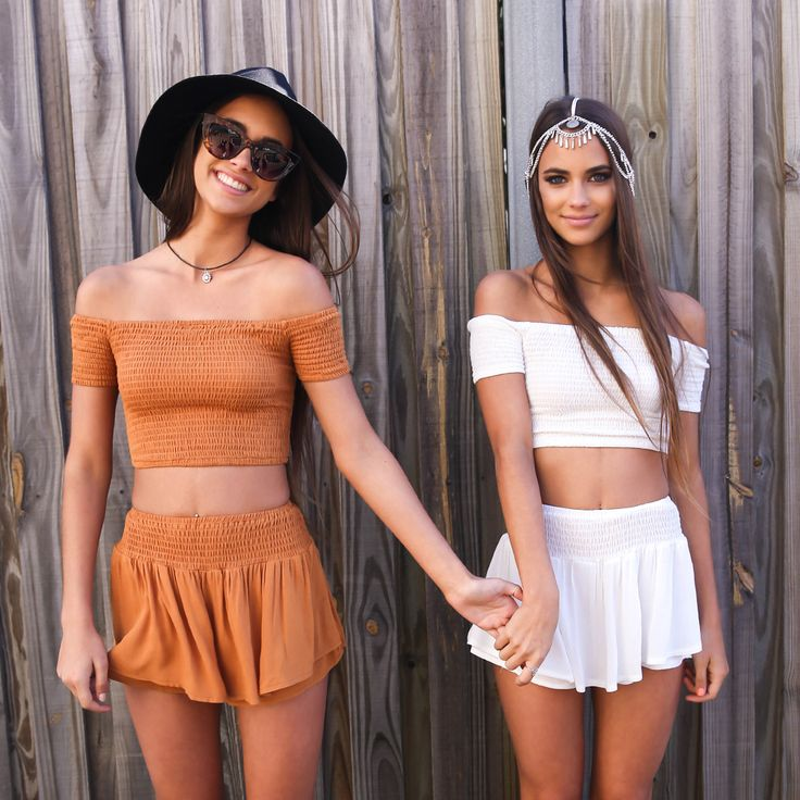 Matchy matchy twinnies in our East End Shorts and Crop Sets from Peppermayo.com