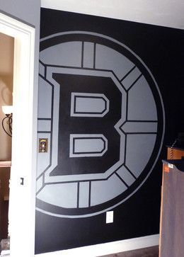 Boston Bruins mural, boys hockey theme room. traditional bedroom