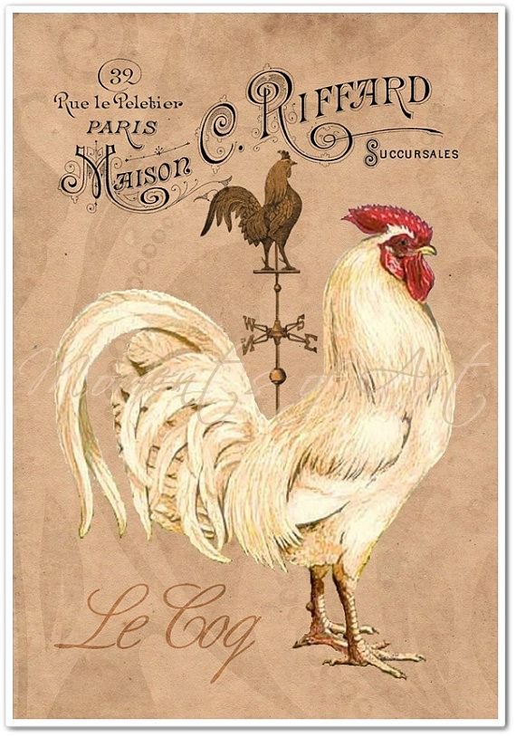 This beautiful French Country Rooster art print will give your French Country kitchen, dining room, or any other room in your home a touch of Rustic