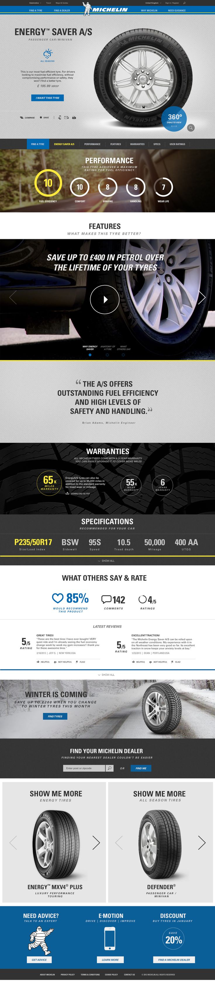 Michelin Tyres Redesign - Tyre Detail Page