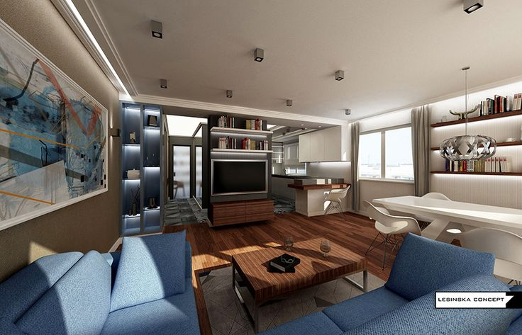 WALNUT AND BLUE APARTMENT