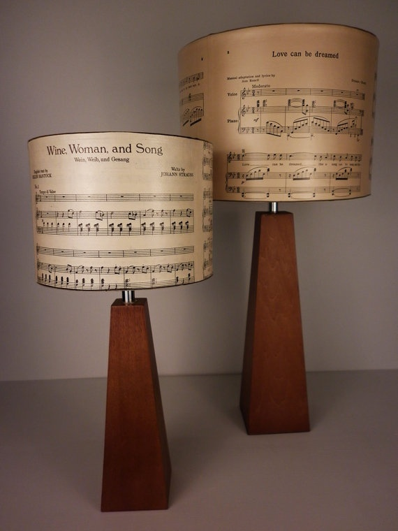 Music notes lampshades, decoupaged by Patturn