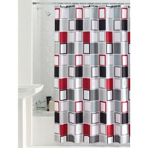 Mainstays Aperture Fabric Shower Curtain Pretty Dark Gray Light Red White Black