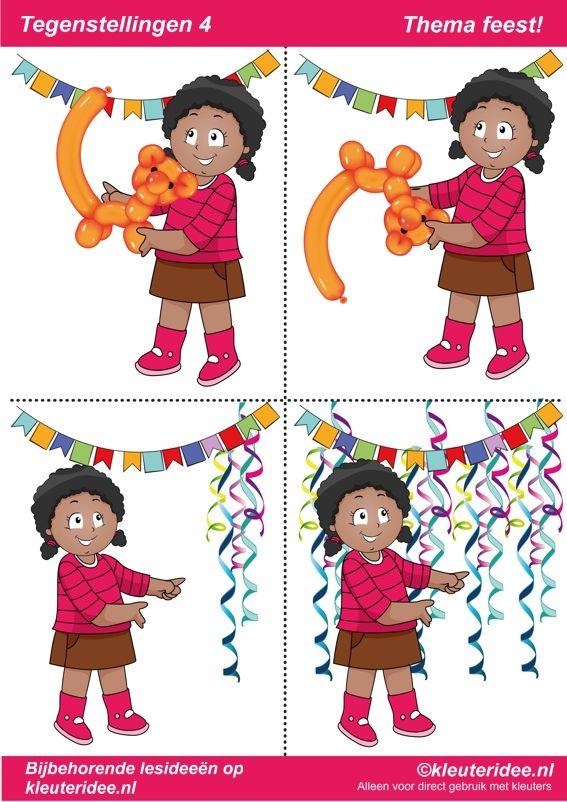 Tegenstellingen deel 4, thema feest voor kleuters, juf Petra van kleuteridee, bij behorende les op de website,  preschool opposites, free printable