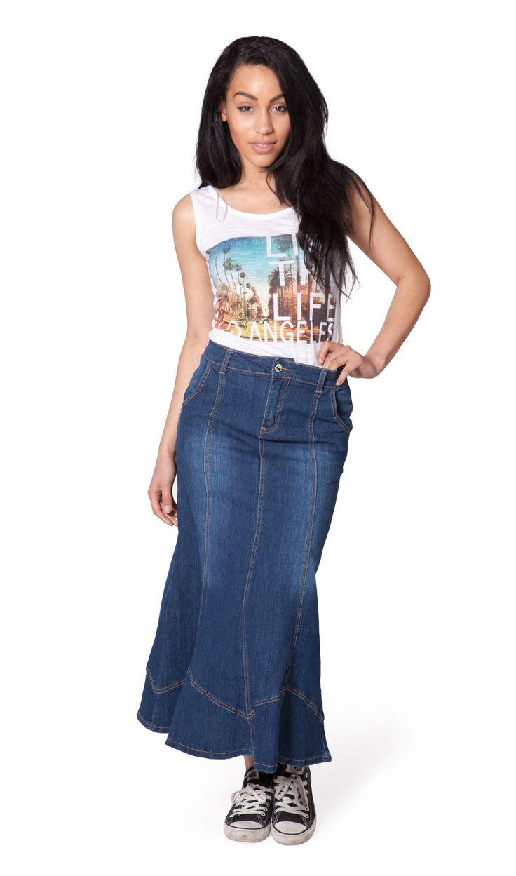 Slightly Flared Long Denim Skirt