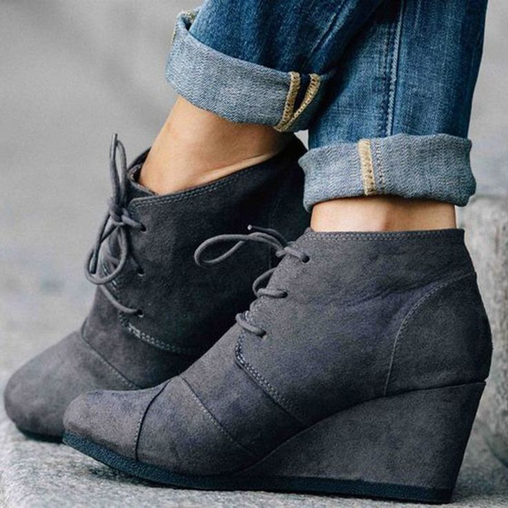 Shoespie Dark Grey Round Toe Wedge Heel Ankle Boots