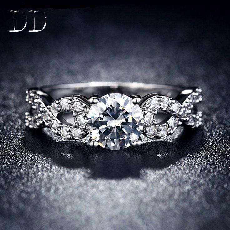 Купить товарCz ювелирных изделий с бриллиантами свадьбы обручальные кольца для женщин белое золото заполнено роскошный старинный bague для леди аксессуары DD099 в категории Кольцана AliExpress.