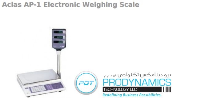 ACLAS AP-1 ELECTRONIC WEIGHING SCALE - Price Computing scale 15kg-5g 28 PLU memory on keyboard (200 PLU's in memory) Daily total scales report Pole display standard, Extension cable also Available (1.5m) ECR Interface Available (ECR = Electronic cash register) 440(w) x 275(D) x 50(H)mm
