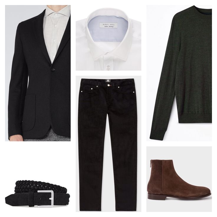 Client brief: Updating wardrobe for the winter months focusing on versatile pieces that can be worn with previous purchases made together. Blazer & belt: Reiss, jeans & boots: Paul Smith, shirt: Nigel Hall, sweater: Jigsaw