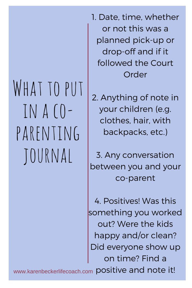 Yes. You need a co-parenting journal. Not only will you feel incredibly organized and on top of things, but you have a quick way to get your thoughts/feelings out related to your co-parent!